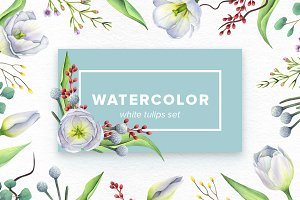 Watercolor White Tulips Set