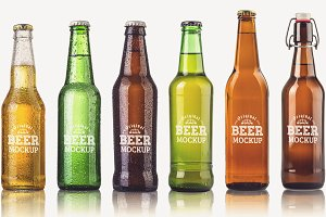 6 Type Beer Bottle Mock-up#20
