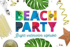 Beach party - watercolor alphabet
