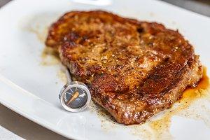 Juicy grilled pork steak