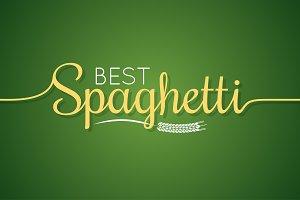Spaghetti logo. Pasta lettering
