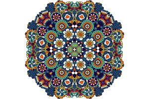 Mandala style floral decorative element