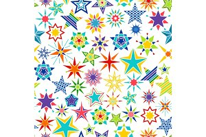 Colorful cartoon stars decorative pattern