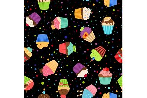 Colorful cupcakes or muffins pattern
