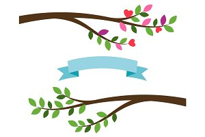 Cartoon tree branches and blue ribbon