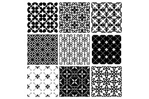 Decorative monochrome tile vintage patterns