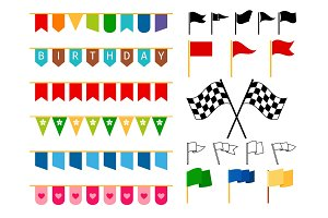 Flag and garlands for invitation card