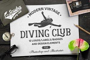 Set of Scuba Diving Badges