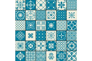 Vintage oriental moroccan tiles patterns set