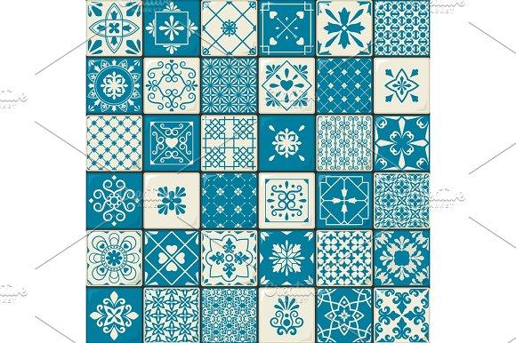 Vintage Oriental Moroccan Tiles Patterns Set