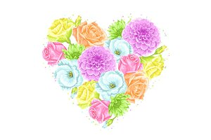 Decorative heart with delicate flowers. Object for decoration wedding invitations, romantic cards