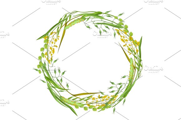 Wreath With Herbs And Cereal Grass Floral Design Of Meadow Plants