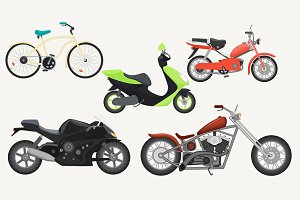 Moped, motorbike, motorcycle set