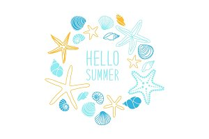 Cute vintage frame with hand drawn shells and starfishes and hand written text Hello Summer