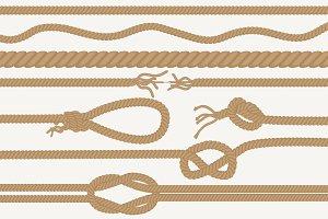 Realistic vector ropes & knots set