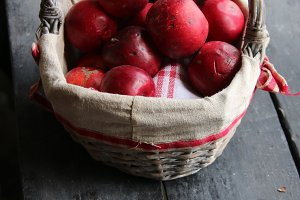 Apples in the basket. Vintage composition.