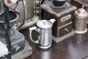 Vintage coffee grinder. Soft focus.
