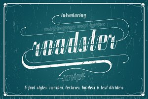 Roadster font family + Extras