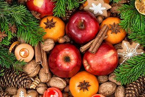 Christmas Food. Apples and Cookies
