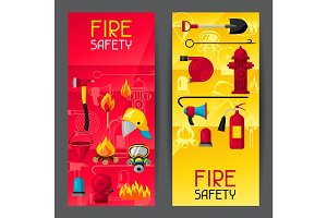 Banners with firefighting items. Fire protection equipment
