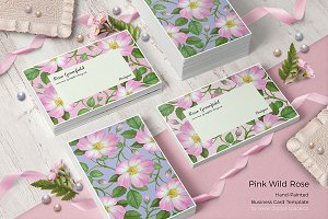 Pink Wild Rose PSD Business Card