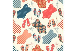 Cute seamless vintage pattern with swimsuits and flip-flops