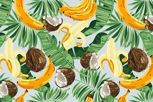 Seamless pattern with banana leaves, bananas and coconuts. Vector illustration.