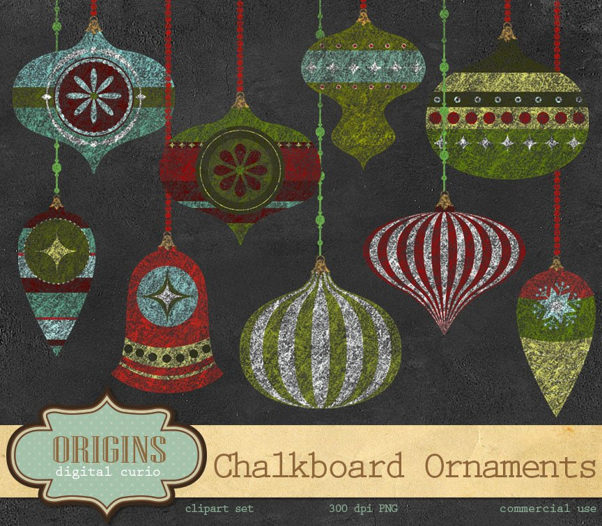 Chalkboard christmas ornaments illustrations creative
