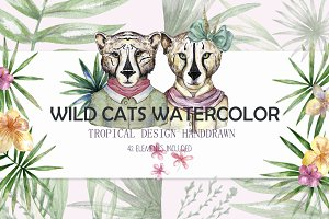 Wild Cats. Tropical watercolor