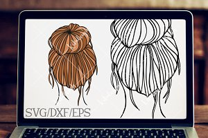 Messy Bun- DXF, SVG, and EPS