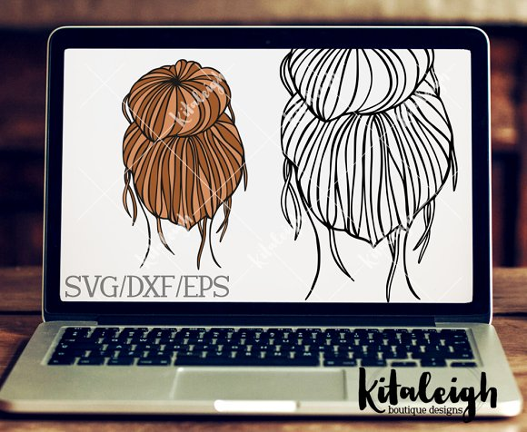 Messy Bun- DXF SVG And EPS