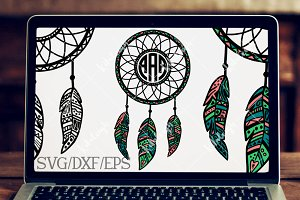 Dream Catcher Monogram-DXF, SVG, EPS
