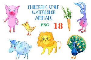 Children's style watercolor animals