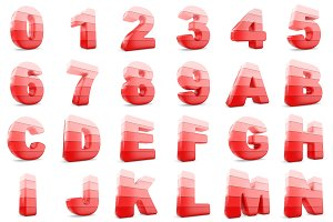 3D Red color numbers and letters.