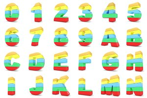 3D Multicolor numbers and letters.
