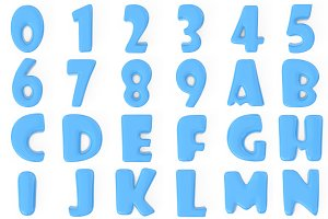 3D blue bubble numbers and letters.