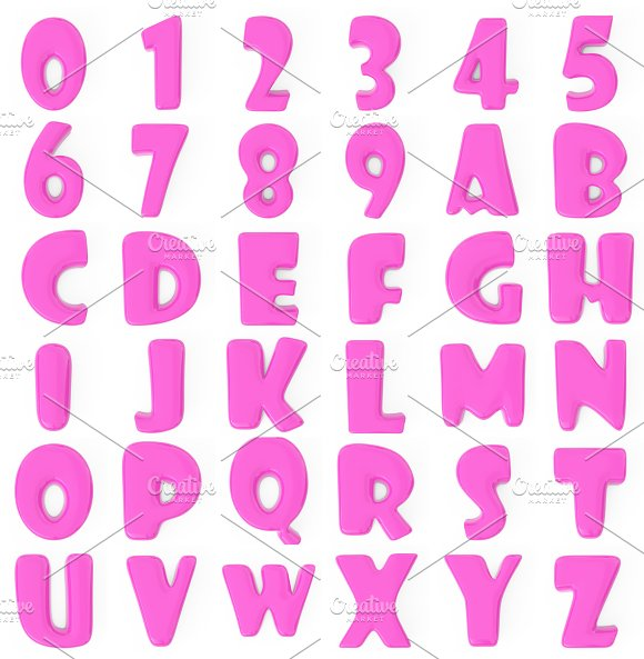 3d pink bubble numbers and letters illustrations