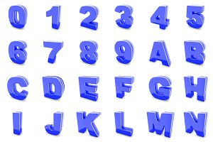 3D blue metal numbers and letters.