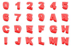 3D red metal numbers and letters