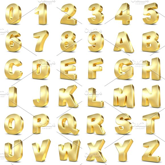 3D Gold Numbers And Letters