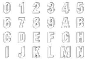 3D White numbers and letters.