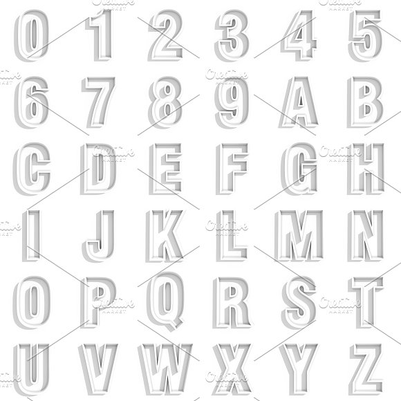 3D White Numbers And Letters