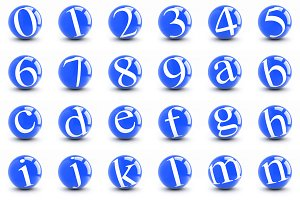 Numbers and letters on a blue balls.