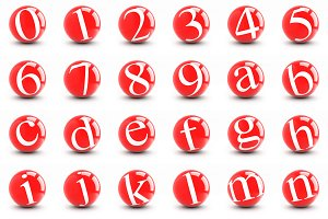 Numbers and letters on a red balls.