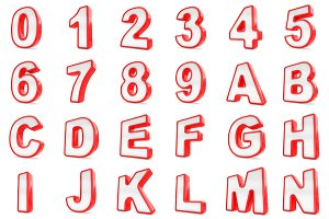 3D Red and white numbers and letters