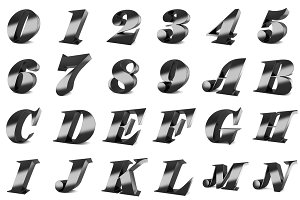 3D black metal numbers and letters.