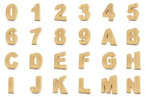 3d Wood material numbers and letters