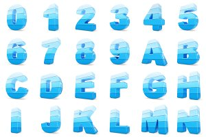 3d Blue color numbers and letters.