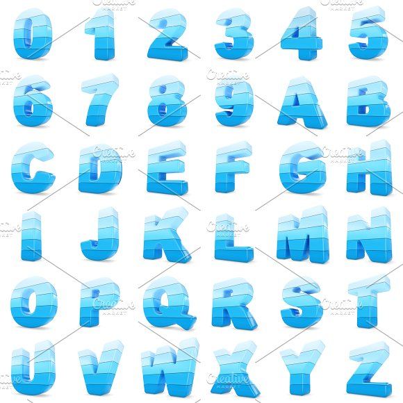 3D Blue Color Numbers And Letters