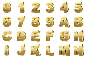 3D gold numbers and letters.